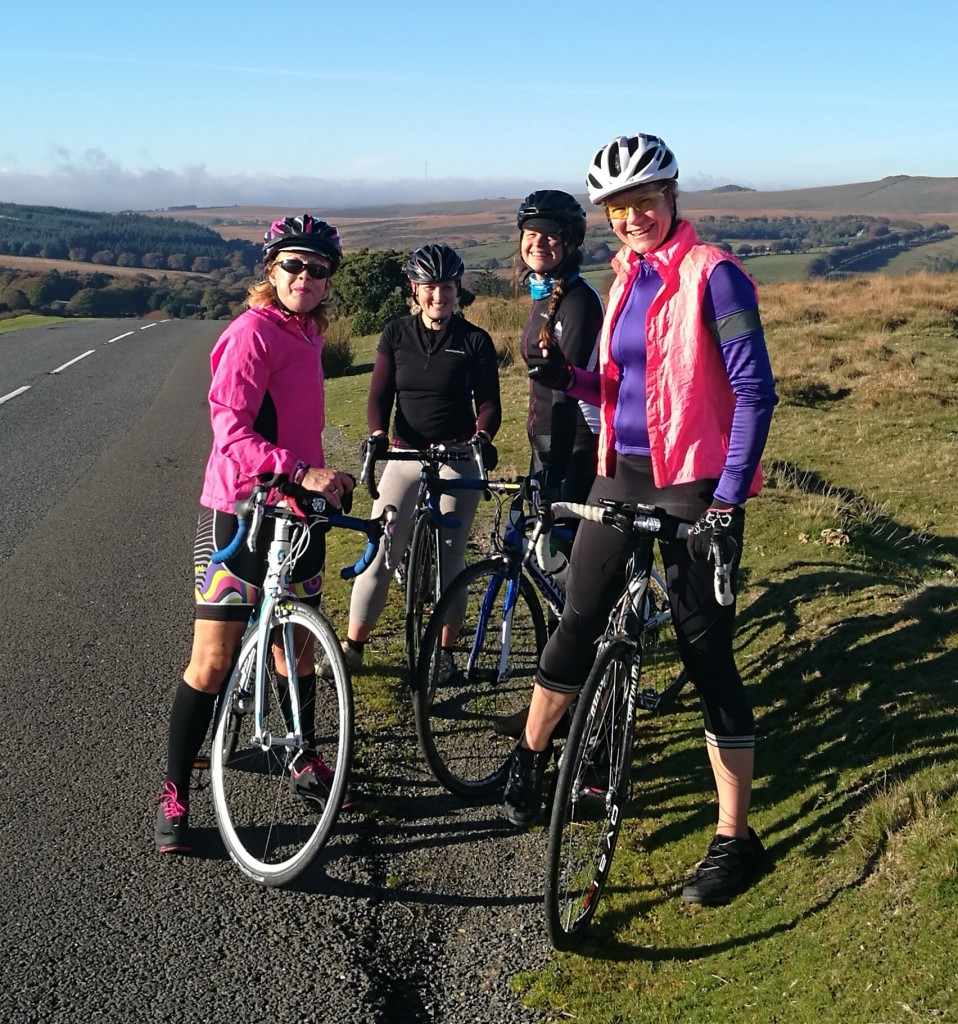 Above: Liz's cycling group in Dartmoor on the last 100k.