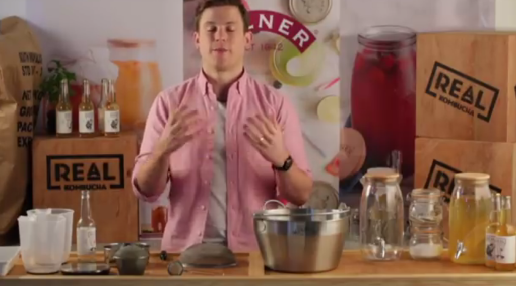 Above: Scene from the video on how to make kombucha, by Kilner and Real Kombucha.
