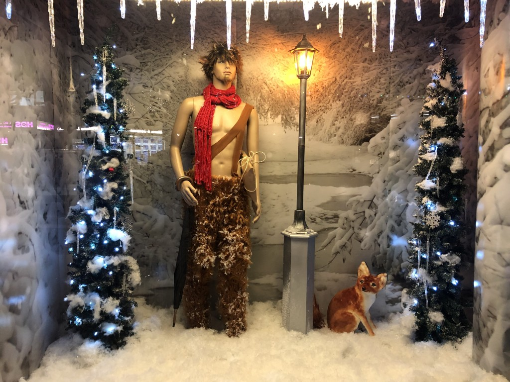 Above: Mr Tumnus the faun in one of Potters Cookshop's Narnia windows.