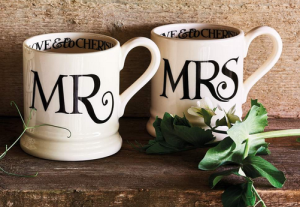 Above: Emma Bridgewater's Mr and Mrs Mug Set is a perfect wedding or anniversary gift.