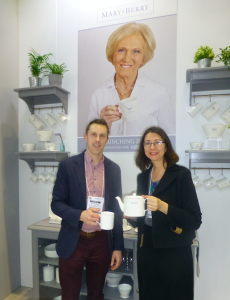 Above: Captivate Brand's Matt Sampson and HousewaresNews' Jo Howard look at the preview of a new Mary Berry tableware range.