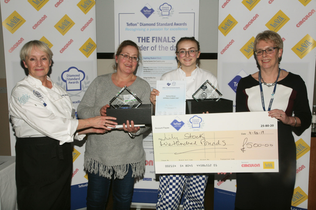 Above: Lesley Waters (head judge) making the Aspiring Student Chef winner's presentation to Lily Stock, pictured with her mum Corinna Stock and Diane Grannell, principal of Bournemouth & Poole College.