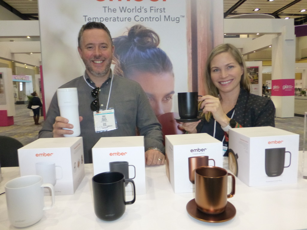 Above: Eric Waters and Jolene Abbott with Ember mugs at Chicago's recent IH+HS.