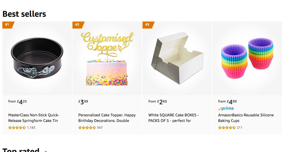 Above: Some of Amazon's current best sellers in bakeware.