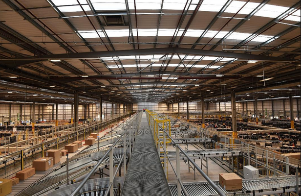 Above: A view of Amazon's fulfilment centre at Rugeley.