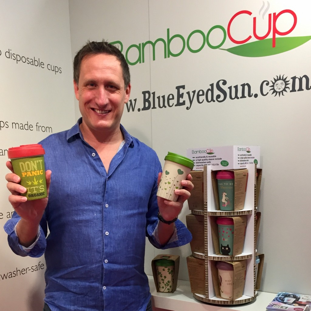 Top: Jeremy Corner (md of Blue Eyed Sun) with some examples of his BambooCups.