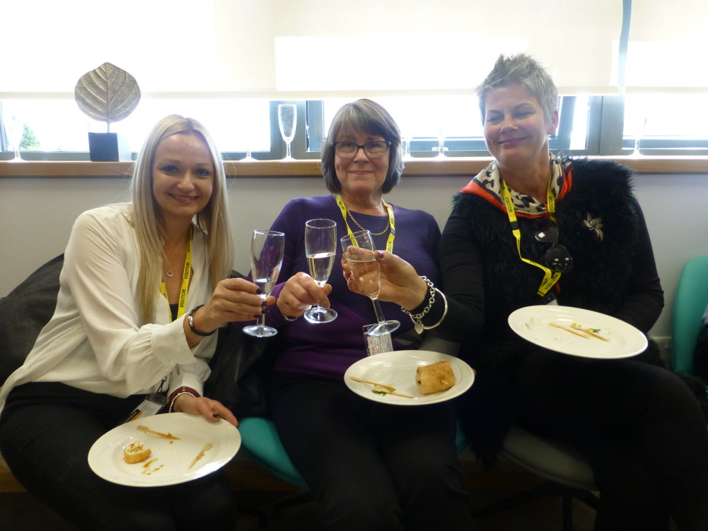 "Above: Scottish guests from Threave Home Hardware, Castle Douglas - Michelle Davolls, Linda True and Christine Maxwell - said their early start was ""well worth it""."