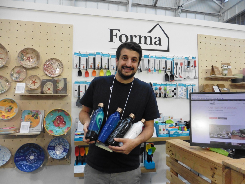 Top: Forma House launched three new colours at the show, in the company's Concerto range. Simon Maghnagi, business development manager, also highlighted that Forma has updated its website to make it easy for customers to navigate. Simon is shown with re-usable bottles in the Eva Solo range.