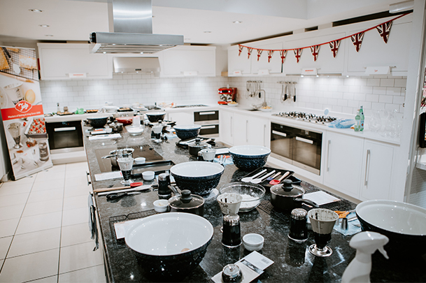 Above: The Divertimenti Cookery School ready for action.