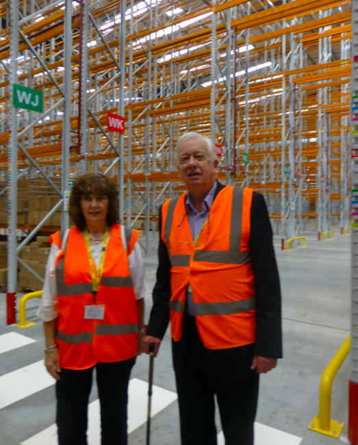 Above: Janet Gordon and Robin Whitehead from The Kitchen Range, Llandudno are impressed by the space in the new warehouse which is equivalent to four football pitches.