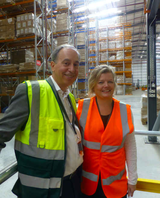 Above: Lifetime Brands' ceo, Rob Kay with KitchenCraft's Emma Jordon, who showed guests around the new warehouse.