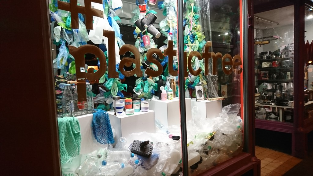 """Above: #PlasticFree was, according to The Woodbridge Kitchen Company co-owner Paul Venediger, """"one of our easier to execute windows but it created a lot of attention and it was especially impactful when backlit in the evening."""""""
