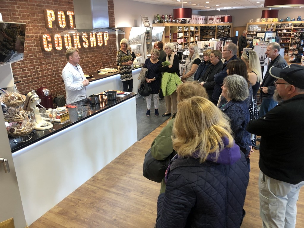 Above: Potters' customers enjoyed a sumptuous cooking demonstration by Sean Wilson.