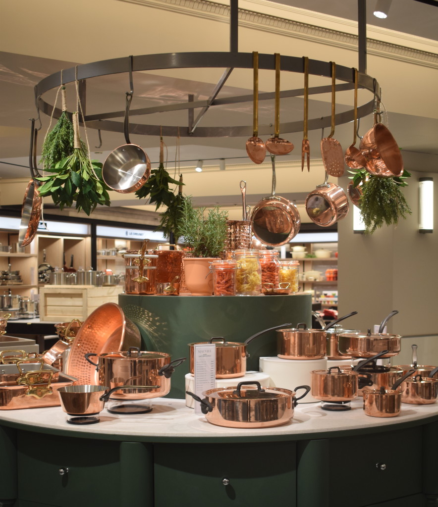 Above: The striking display of Mauviel copper cookware.