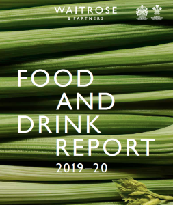 Above:  The popularity of celery and its juice is shown on the cover of the report from Waitrose & Partners.
