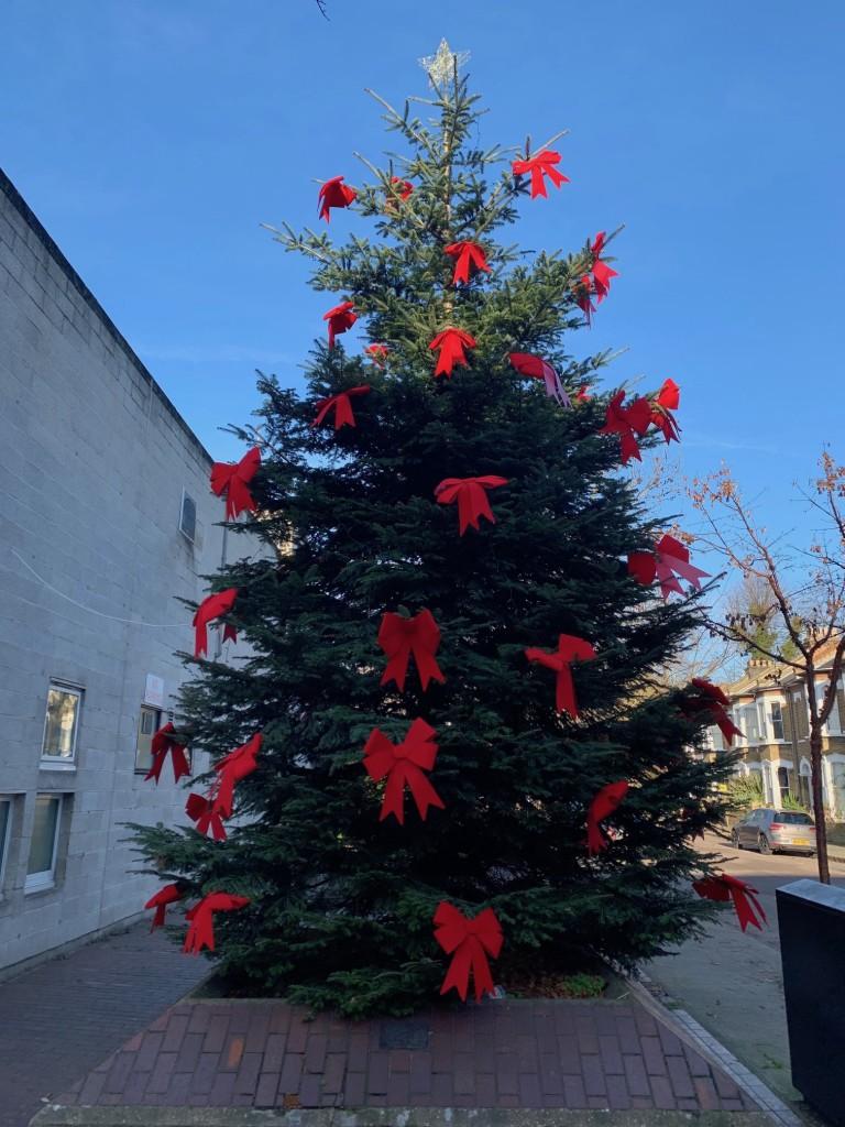 Above: The huge Christmas tree in Stoke Newington Church Street.