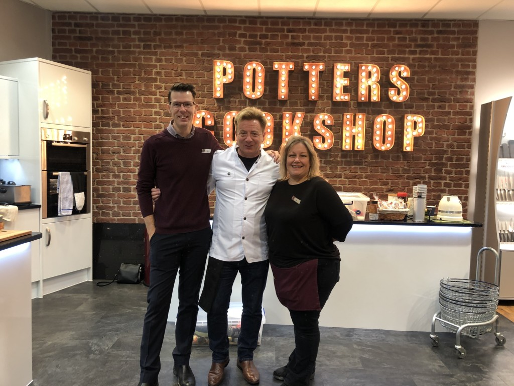 Above: Potter's Tom Carter and Alison Hobbs with ex-Coronation Street's Sean Wilson.