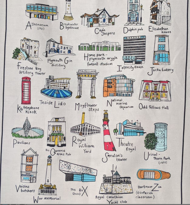 Above: Devon-based artist Sarah Smalldon's A-Z of Plymouth tea towel. Products by Sarah are among those selling well at Lawsons, which has a store in Plymouth.
