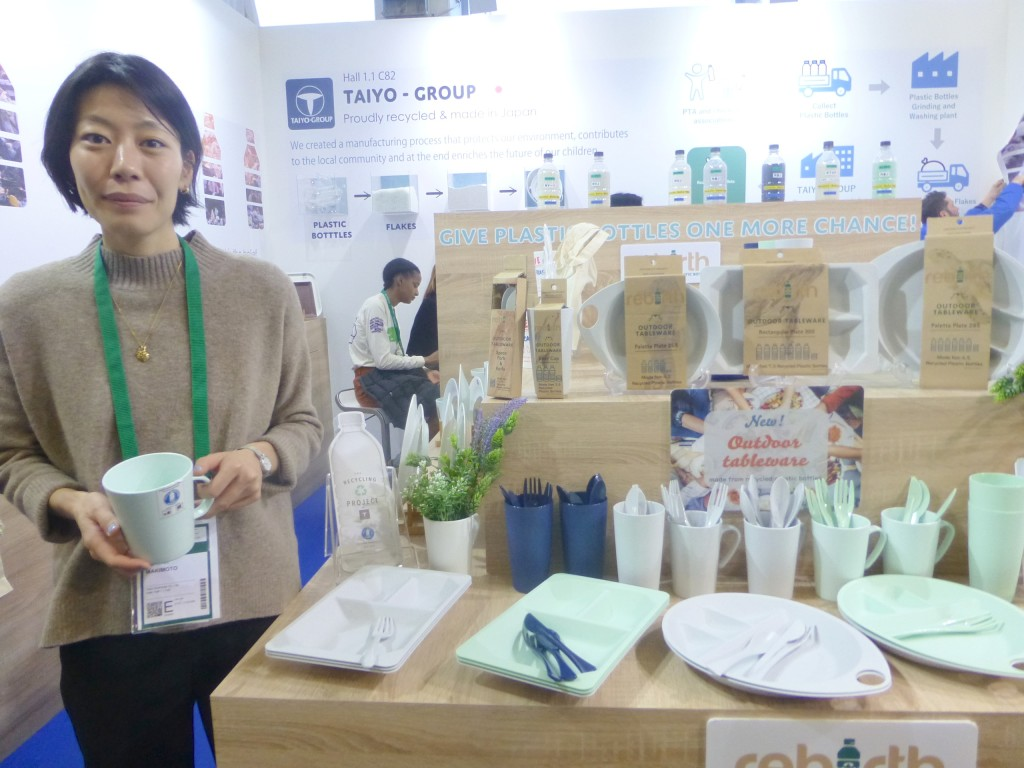 Above: Haruna Makimoto of Taiyo Group with tableware made from recycled plastic water bottles.