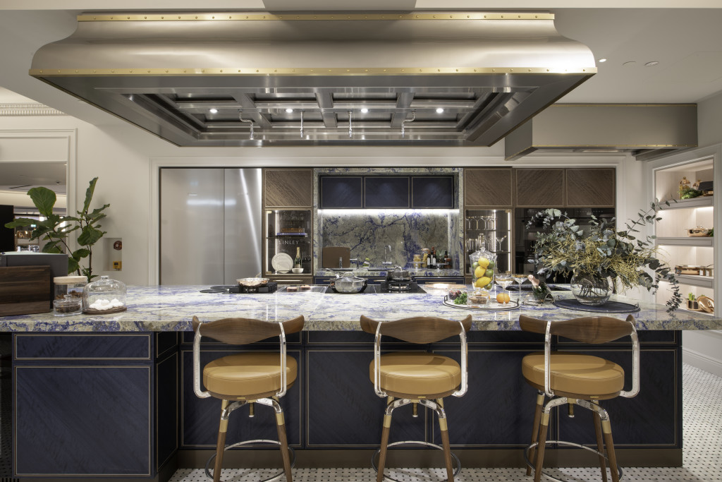Above: The Linley kitchen has a warm design aesthetic.