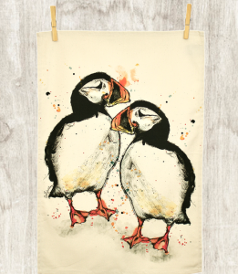 Above: The Puffin tea towel is one of the range of beautiful illustrations from Dollyhotdog.