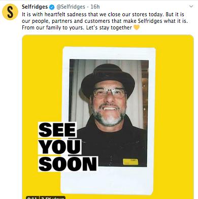 Above: Selfridges' Twitter message.
