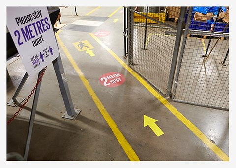 Above: Safety is paramount at Next's warehouse.