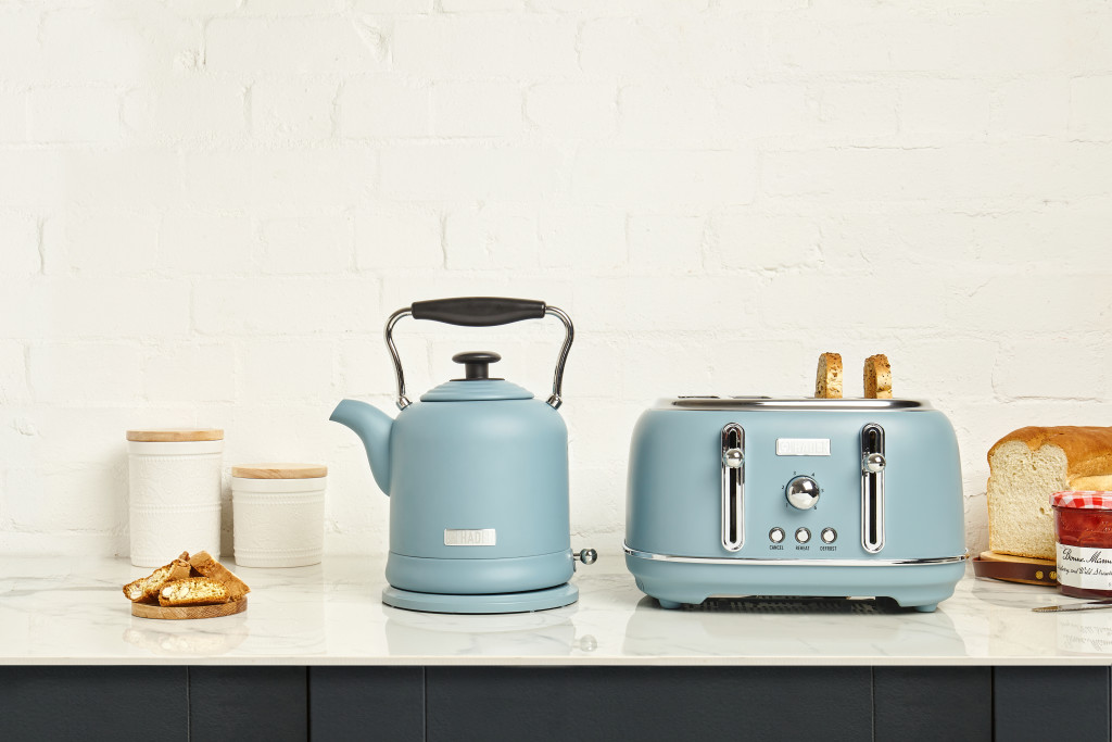 Above: The Highclere Stone Blue Kettle and Toaster