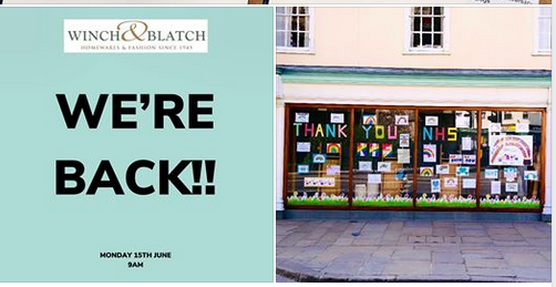Above: Winch & Blatch's re-opening announcement on Facebook.