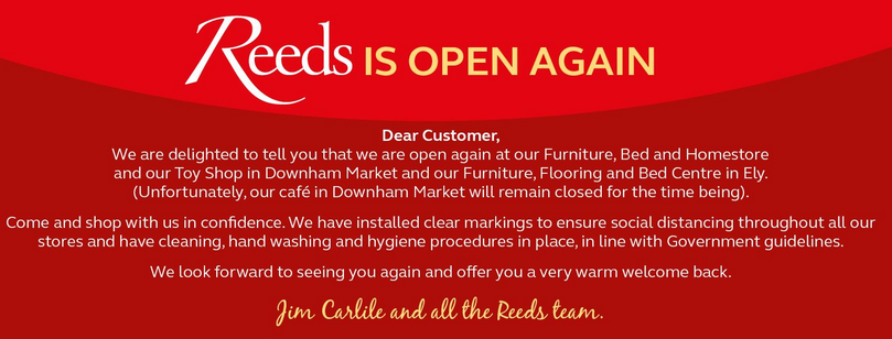 Above: Reeds Homestore's announcement on Facebook.