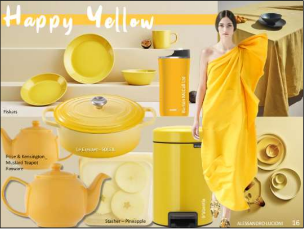 Above: Yellow will feature strongly in 2021 – image by Scarlet Opus, including products from Exclusively Digital exhibitors.