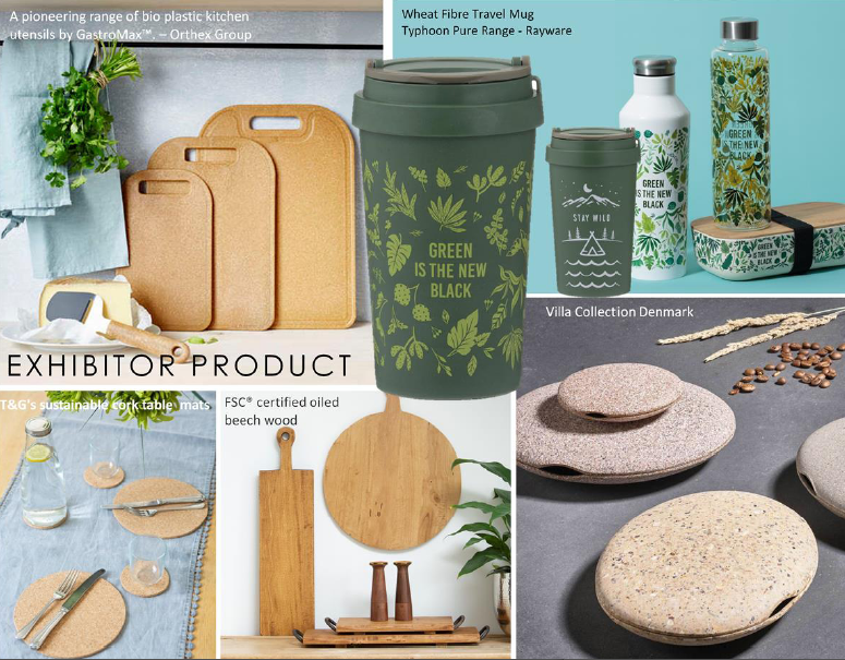 Above: Some of the products from Exclusively exhibitors that address sustainability.