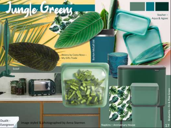 Above: Natural greens will be influential - image by Scarlet Opus, including products from Exclusively Digital exhibitors.