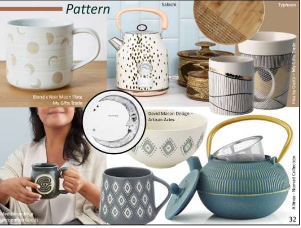 Above: Patterned products from Exclusively Digital exhibitors that reflect the Earth Age trend – image from Scarlet Opus.