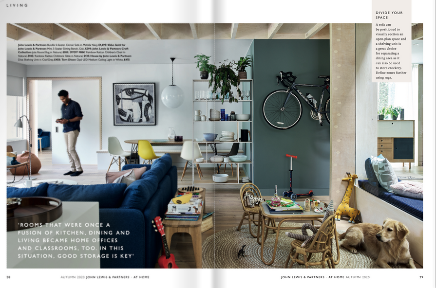 Above: Pages from John Lewis & Partners At Home magazine show how the kitchen has evolved as a multi-functional living space.