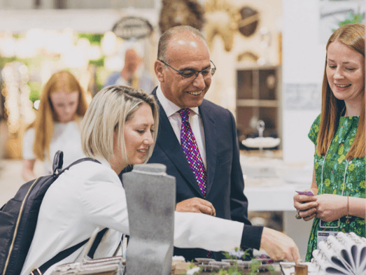 Above: Theo Paphitis, pictured on a visit to Autumn Fair.