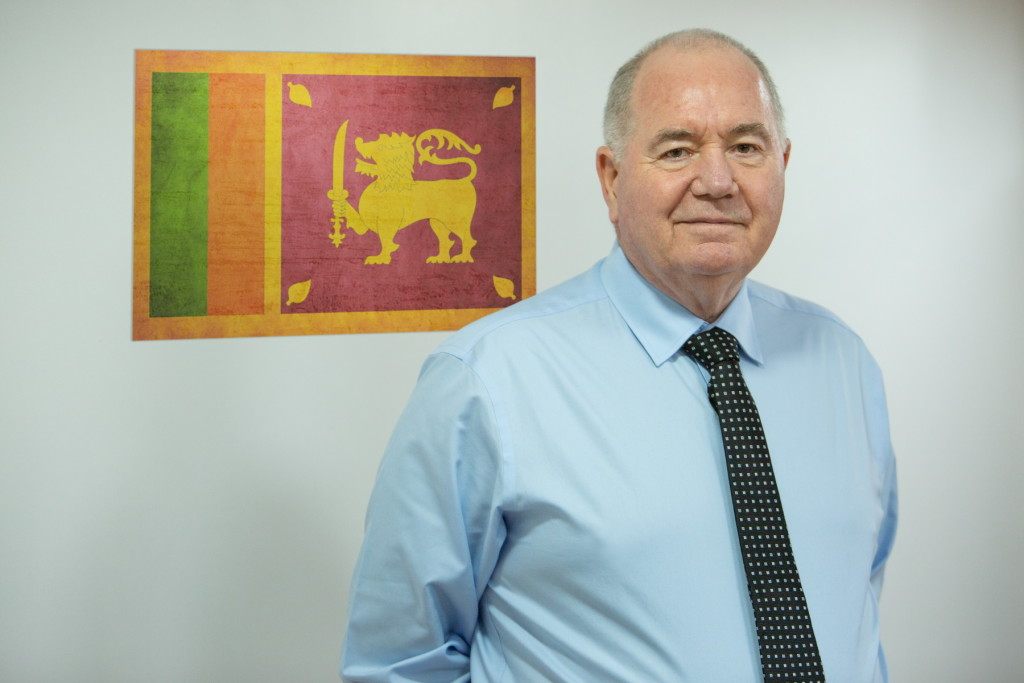 Above: Tony next to Sri Lanka's flag (What More's newest export country).