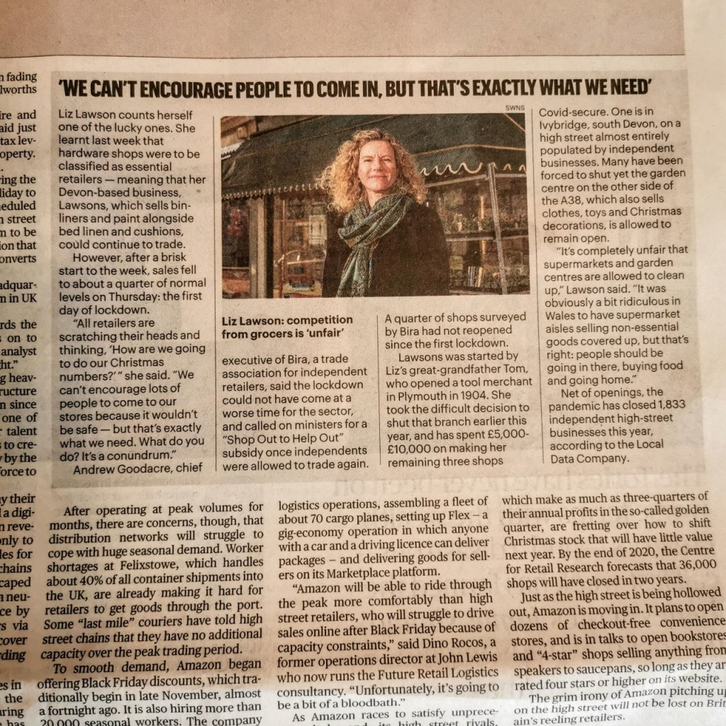 Above: Lawsons' md Liz Lawson is featured in The Sunday Times.