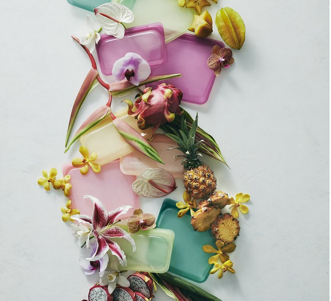Above: Some of the Stasher Tropical Collection with its colourful inspiration coming from fruits and flowers