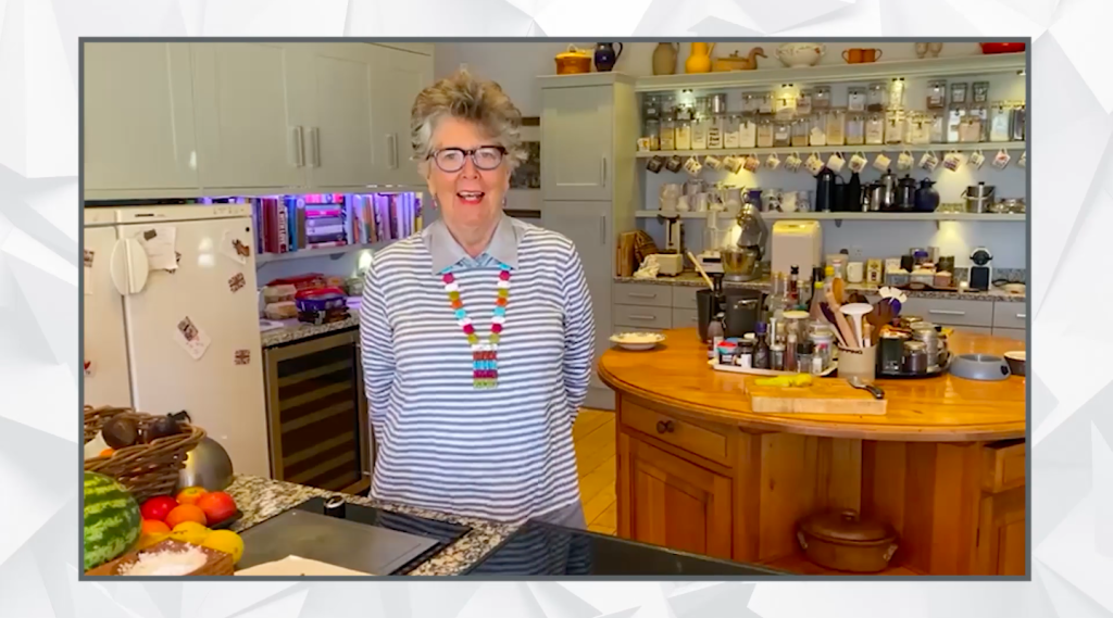 Above: Lakeland's second award was announcement by Prue Leith, speaking from her kitchen.
