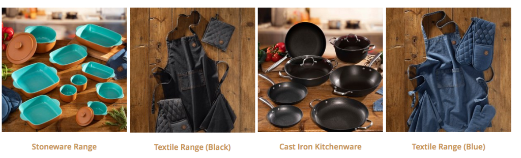 Above: Kitchenware categories on The Hairy Bikers' site.