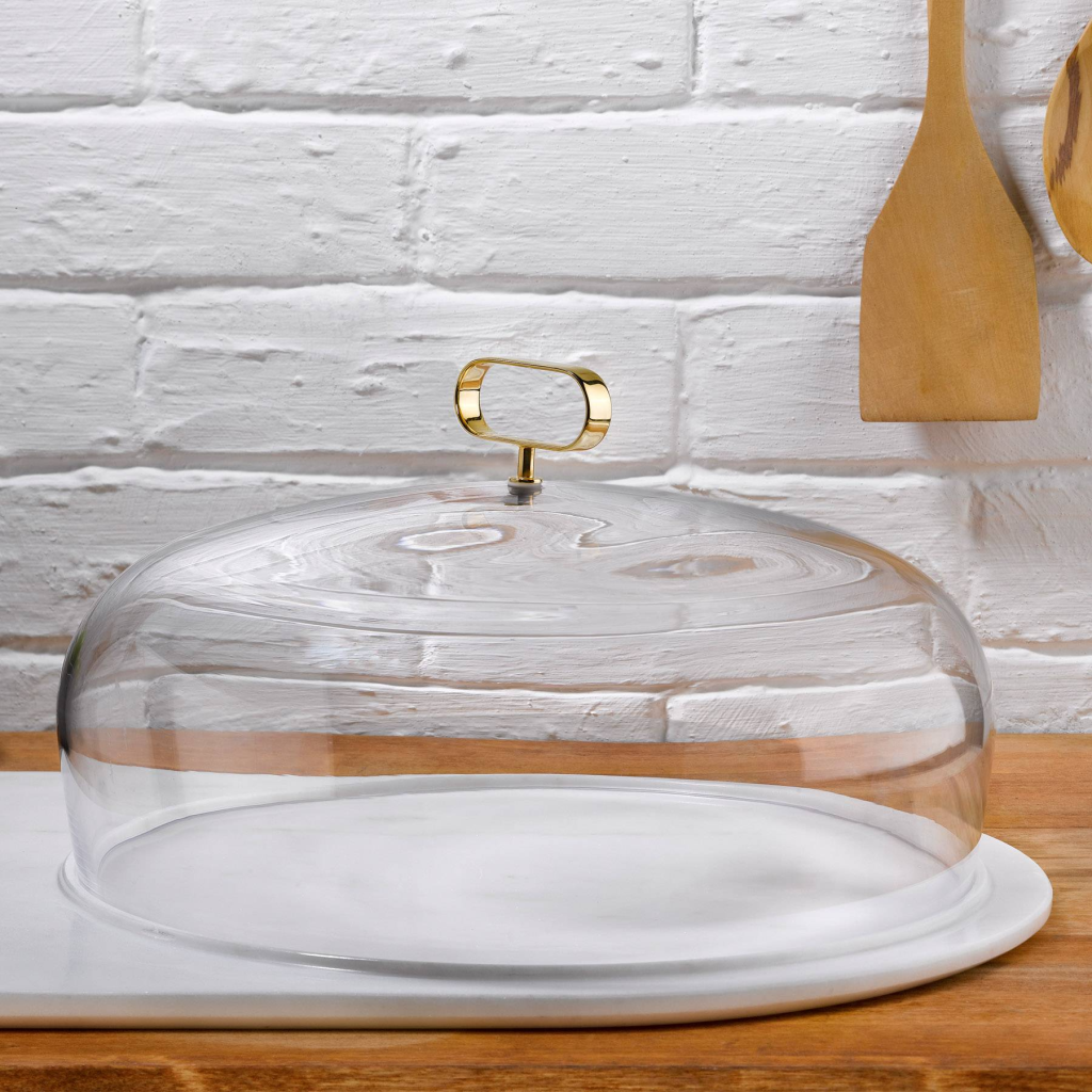 Above: Opulent: Nude Glass Cupola Cake Dome at Top Drawer.