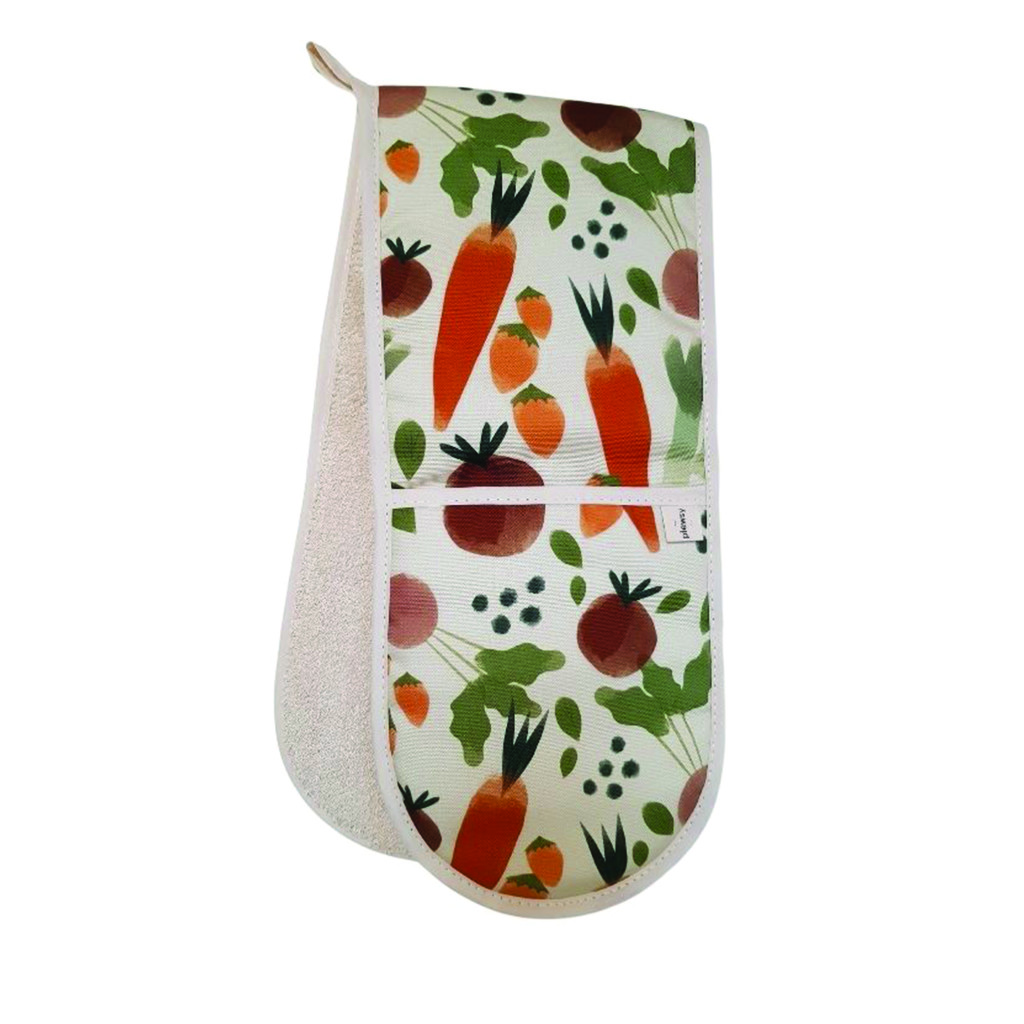 Above: Comforting country style: Plewsy's Vegetable Print Double Oven Gloves