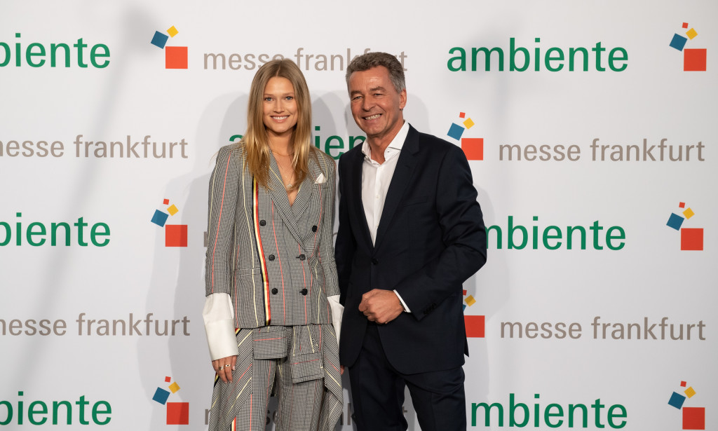 Above: Messe Frankfurt's Detlef Braun with special guest Toni Garrn at Ambiente 2020. (Photo: Pietro Sutera).