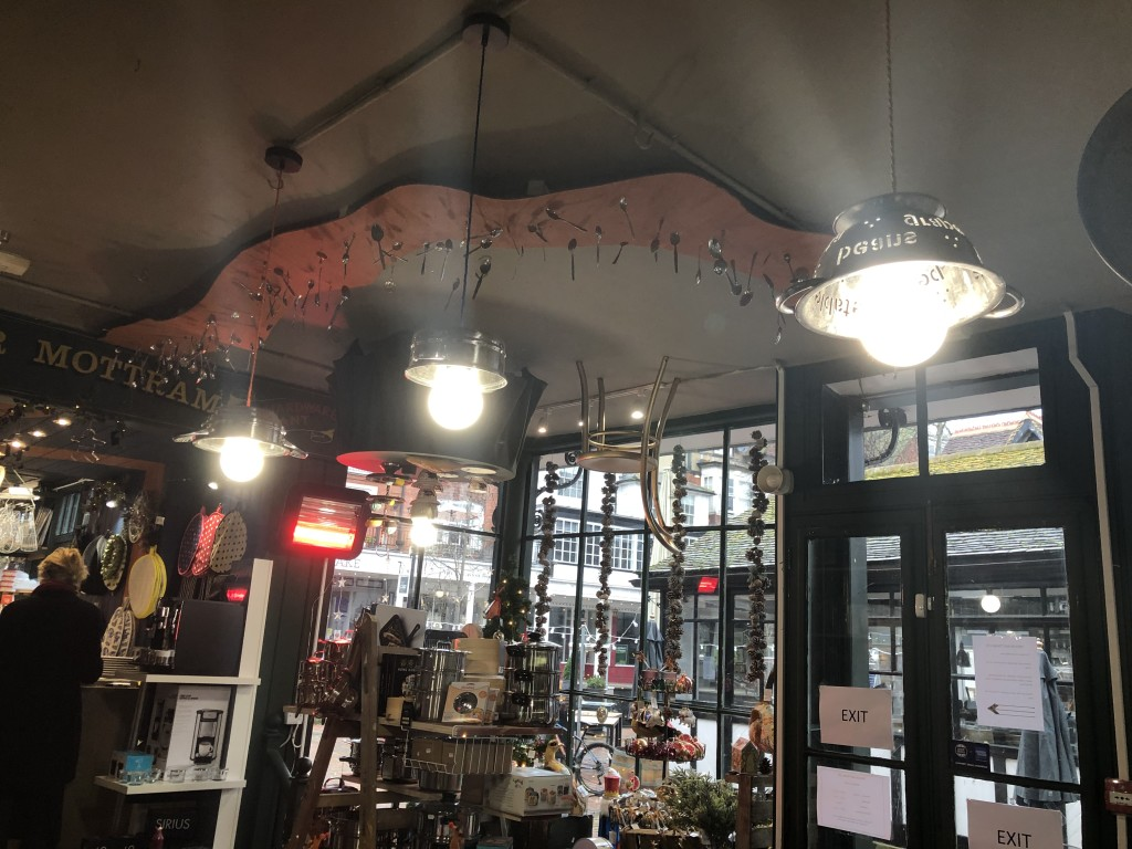 Above: A view of Trevor Mottram, including its cutlery and table on the ceiling. The cookshop is one of the independent shops subject to a design makeover, as part of a BBC tv programme due to be screened on February 22.