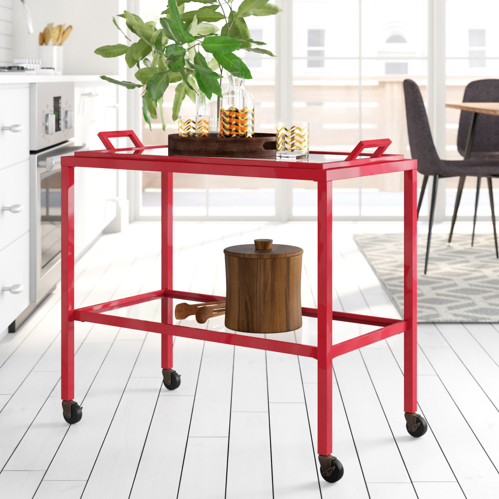 Above: For drinks and snacks at home: Haun Serving Cart is another trendy product highlighted by Wayfair.