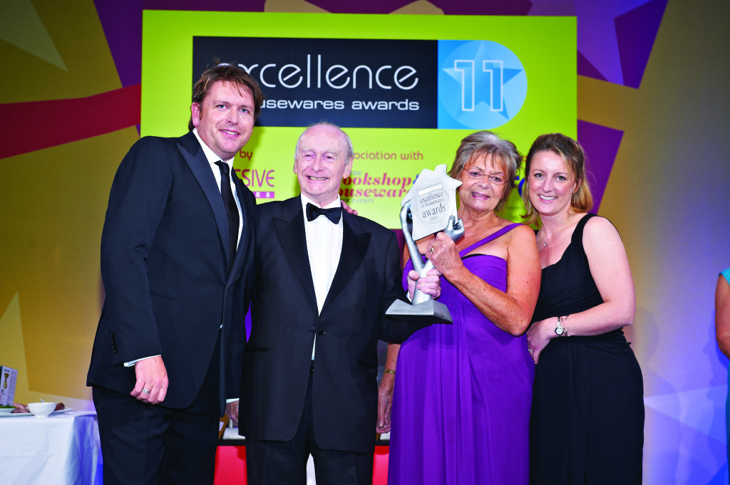 Above: One of the UK's leading independent cookshops, The Kitchen Shop, Lichfield was recognised at The Excellence in Housewares 2011: Hilary Woolston is pictured holding the trophy for CHA Retailer of the Year, alongside husband Barry (also photographed with James Martin, EIH Awards host and Jane Mason, then head of sales at Le Creuset).