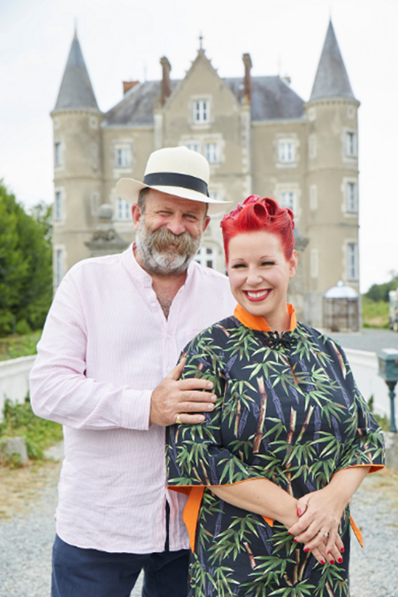 Above: Dick and Angel Strawbridge outside their chateau.