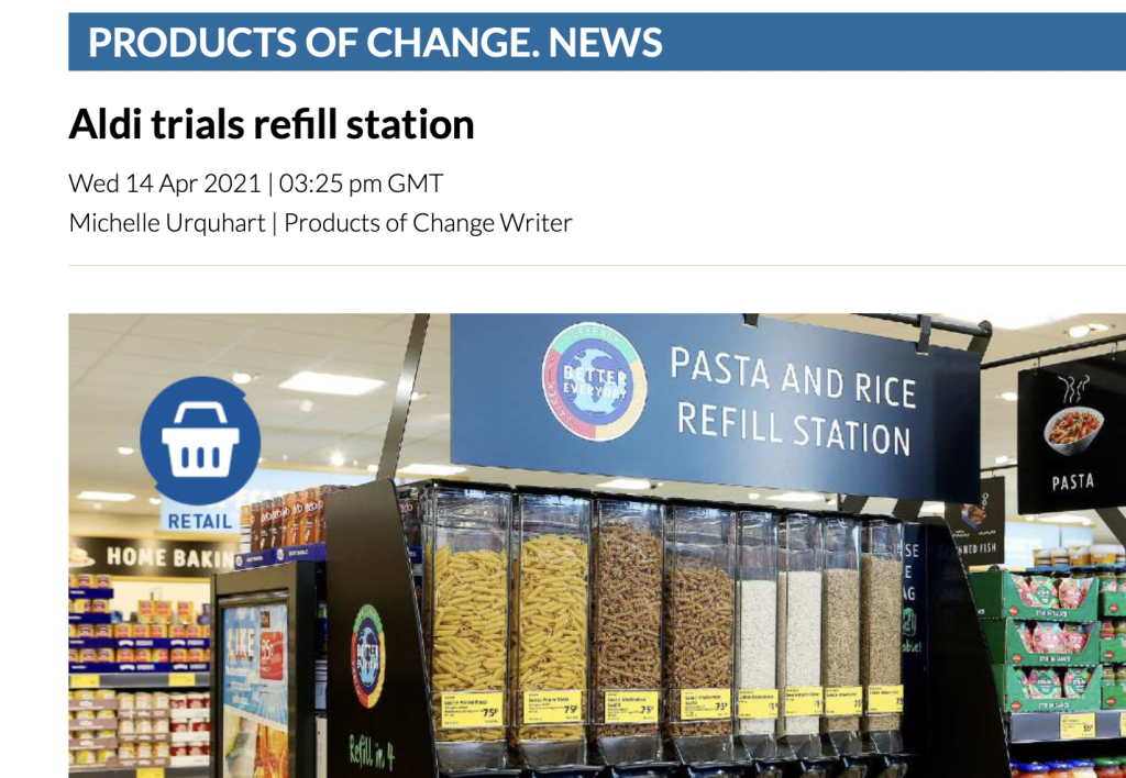 Above: Sustainability in retail is a focus of Product of Change's news and education.