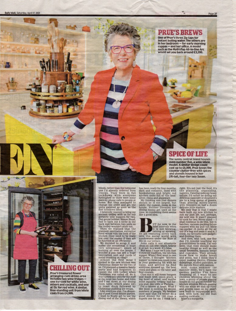 Above: Part of the newspaper article by Prue Leith in The Daily Mail, which pictures Prue and her Lazy Susan.